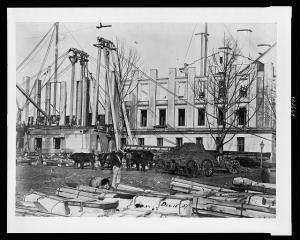 Construction of the US Treasury Building, 1857, image courtesy LOC