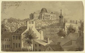 1839 Kollner ink and ink wash landscape of Capitol Hill,  before the dome had been added to the Capitol. Courtesy, LOC.